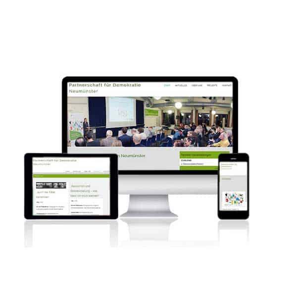 Webdesign-Referenz Partnerschaft für Demokratie - Neumünster