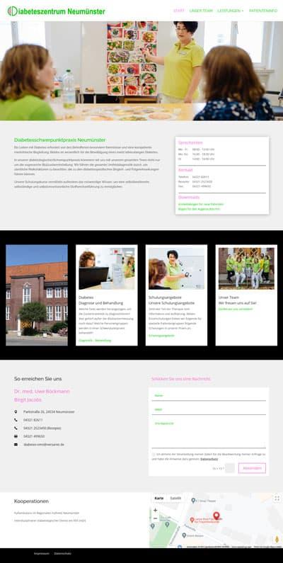 Screenshot Website Diabeteszentrum Neumünster