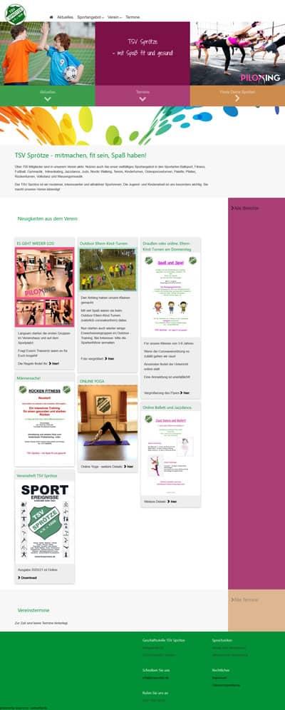 Screenshot Website TSV Sprötze
