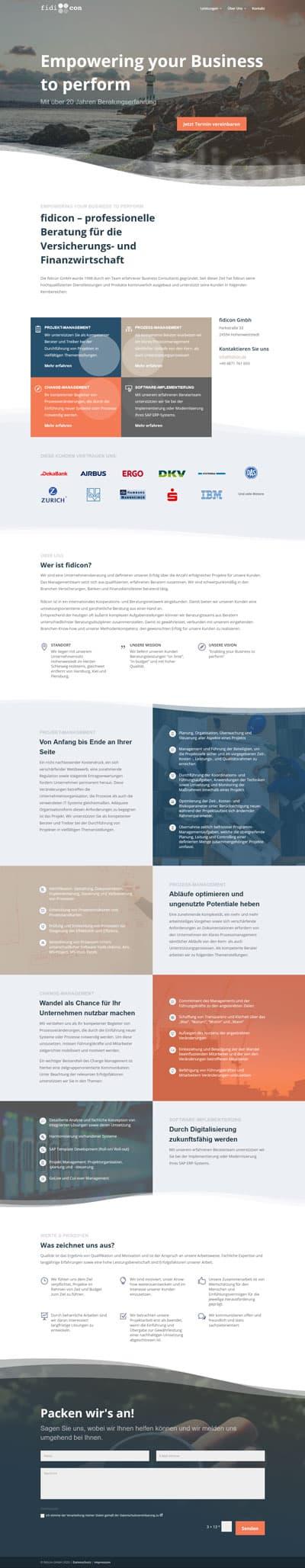 Screenshot Website fidicon GmbH