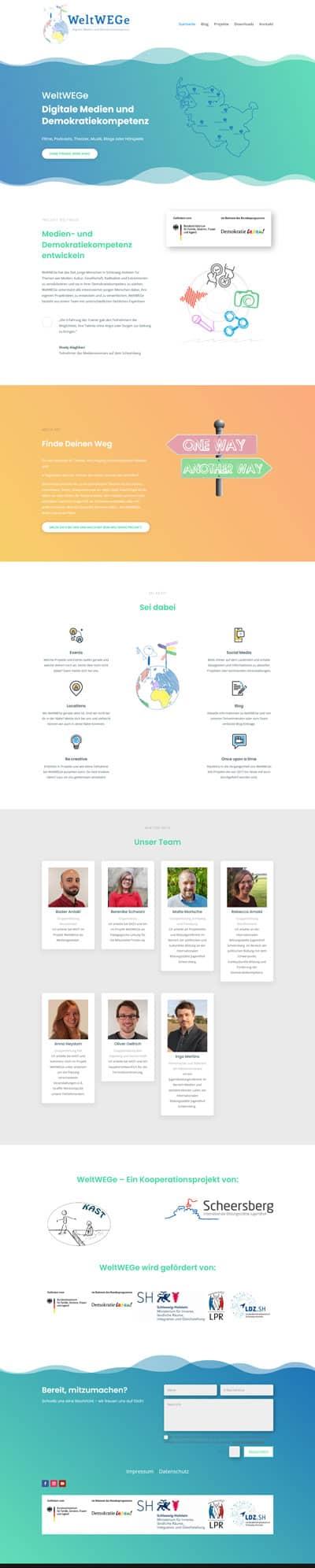 Screenshot Website WeltWEGe Schleswig-Holstein