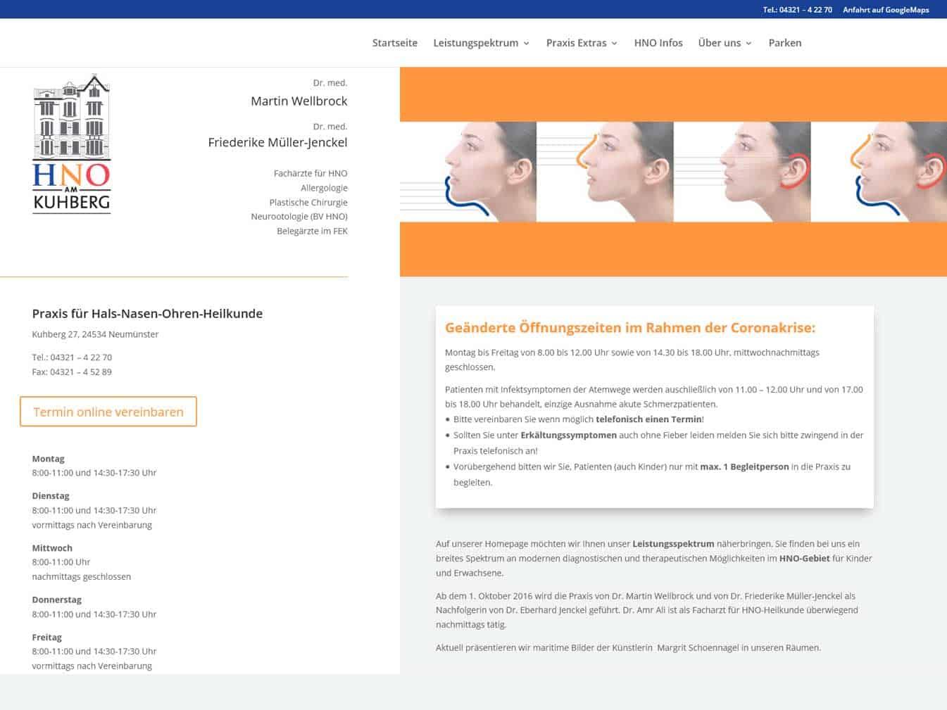 Webdesign für HNO am Kuhberg