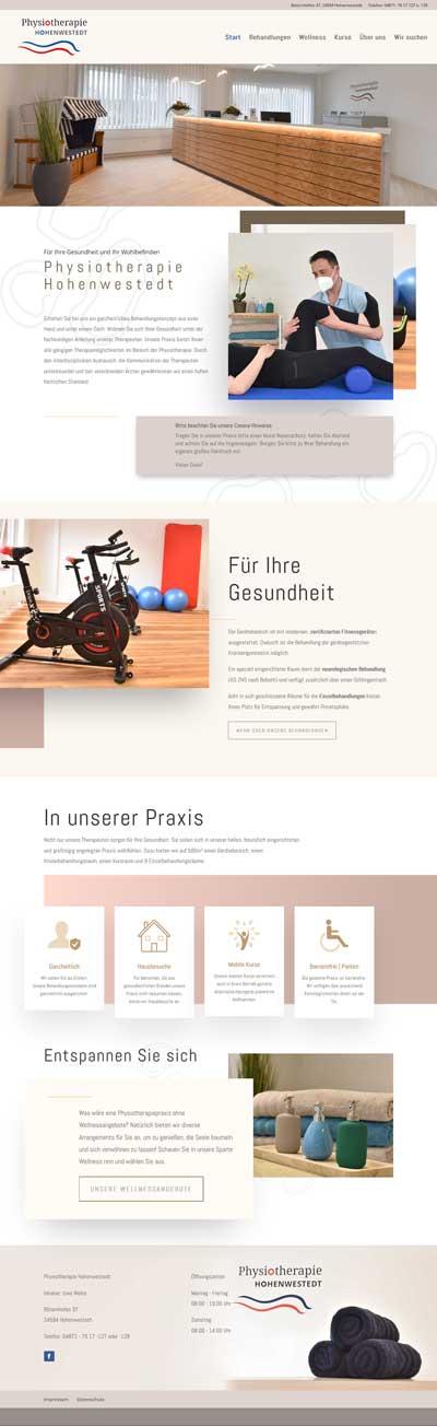 Screenshot Website Physiotherapie Hohenwestedt
