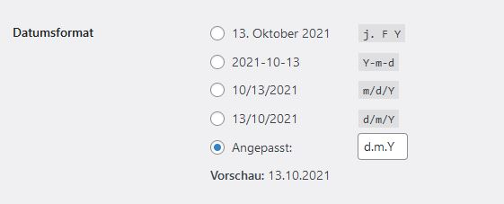 Wordpress- Einstellungen Datum